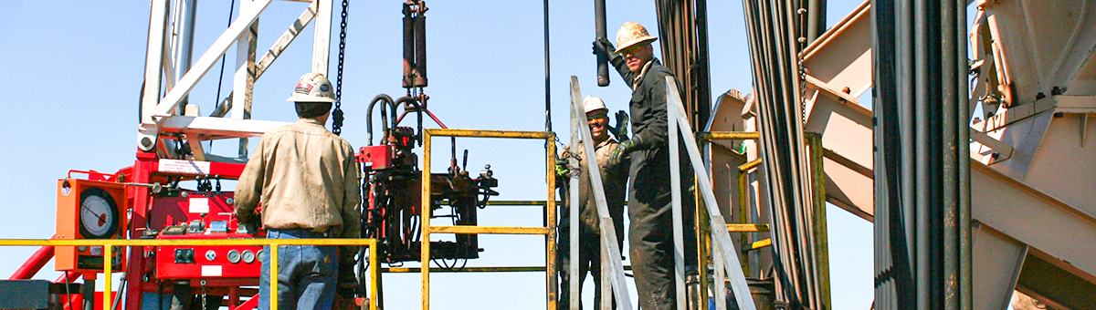 Well drilling equipment with workers